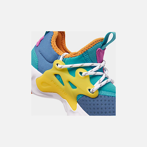 Front view of Little Kids' Nike React Presto Running Shoes in Mountain Blue/White/Light Current Blue