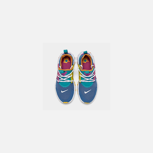 Back view of Little Kids' Nike React Presto Running Shoes in Mountain Blue/White/Light Current Blue