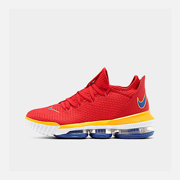 Right view of Men's Nike LeBron 16 Low Basketball Shoes in Crimson Red/Yellow/White
