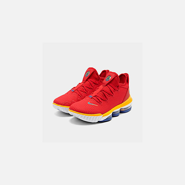 Three Quarter view of Men's Nike LeBron 16 Low Basketball Shoes in Crimson Red/Yellow/White