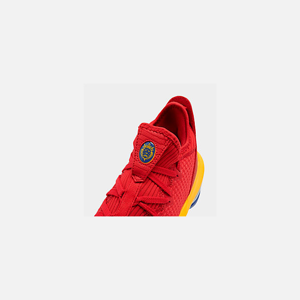 Front view of Men's Nike LeBron 16 Low Basketball Shoes in Crimson Red/Yellow/White