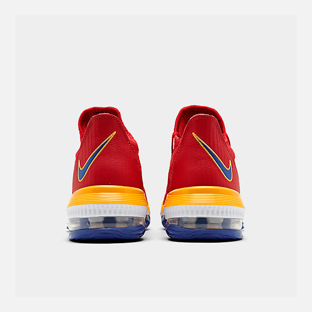 Left view of Men's Nike LeBron 16 Low Basketball Shoes in Crimson Red/Yellow/White