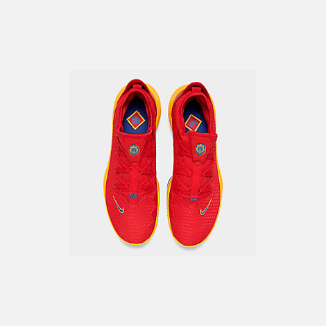 Back view of Men's Nike LeBron 16 Low Basketball Shoes in Crimson Red/Yellow/White