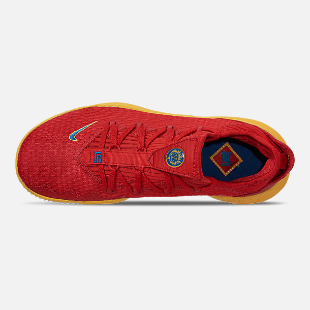 Top view of Men's Nike LeBron 16 Low Basketball Shoes in Crimson Red/Yellow/White