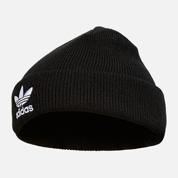 Front view of adidas Originals Trefoil Beanie Hat in Black/White