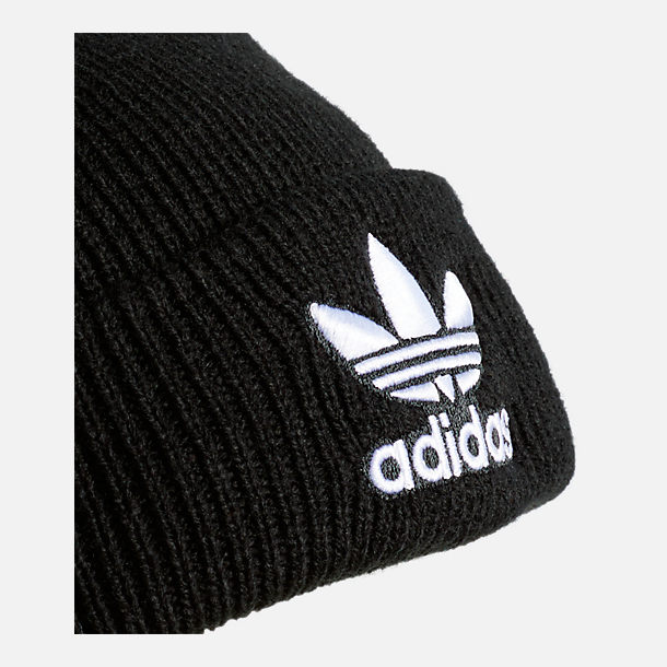 Back view of adidas Originals Trefoil Beanie Hat in Black/White