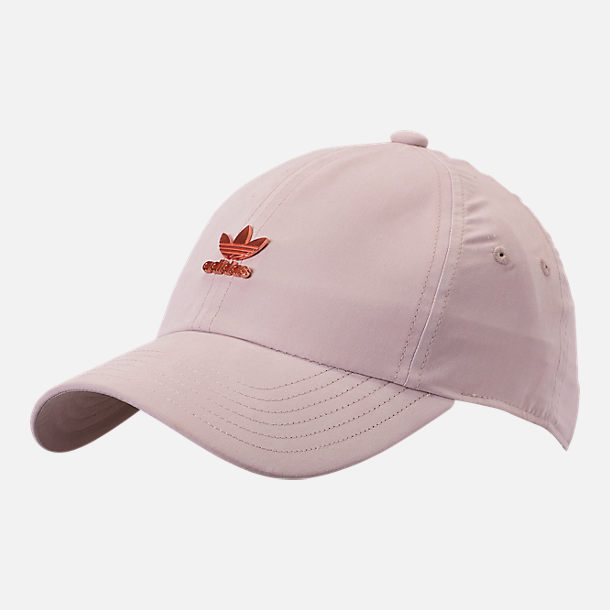 Front view of adidas Originals Metal Relaxed Adjustable Back Hat in Clear Brown/Rose Gold