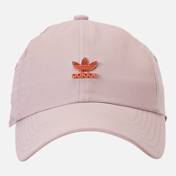 Back view of adidas Originals Metal Relaxed Adjustable Back Hat in Clear Brown/Rose Gold