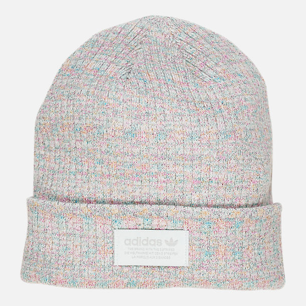 Front view of Women's adidas Originals Wide Rib Beanie in Clear Grey/White/Multi