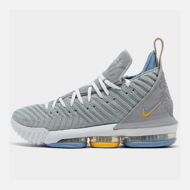 b2326acaec6 Right view of Men s Nike LeBron 16 Basketball Shoes in Wolf  Grey White University