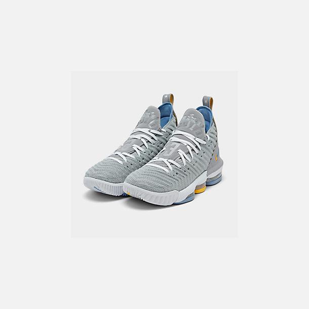 timeless design 4422e fa27b Three Quarter view of Men s Nike LeBron 16 Basketball Shoes in Wolf  Grey White