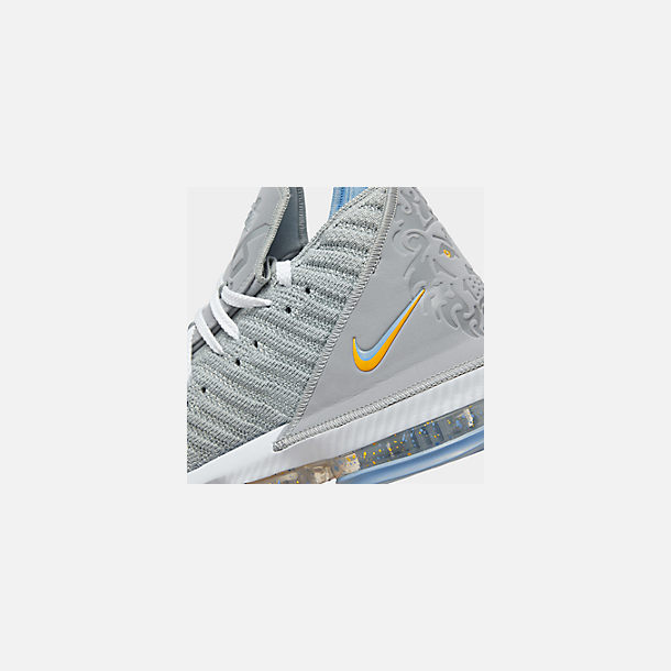 711aa85d616 Front view of Men s Nike LeBron 16 Basketball Shoes in Wolf Grey White  University