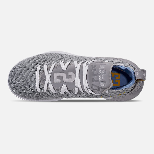 brand new 7fbb8 44f55 Top view of Men s Nike LeBron 16 Basketball Shoes in Wolf  Grey White University