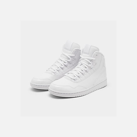 Three Quarter view of Men's Air Jordan Executive Off-Court Shoes in White/White Patent