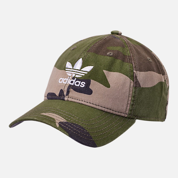 4bdafa11 Front view of adidas Originals Precurved Washed Strapback Hat in Camo Olive  Cargo