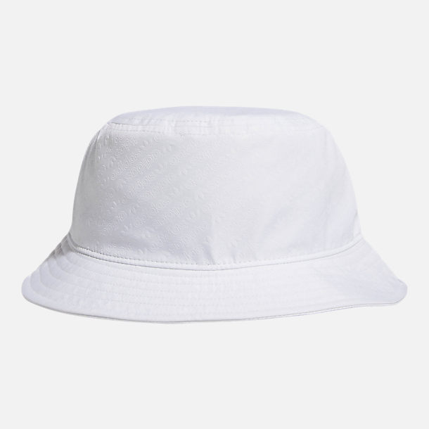 Front view of adidas Originals Embossed Bucket Hat in White