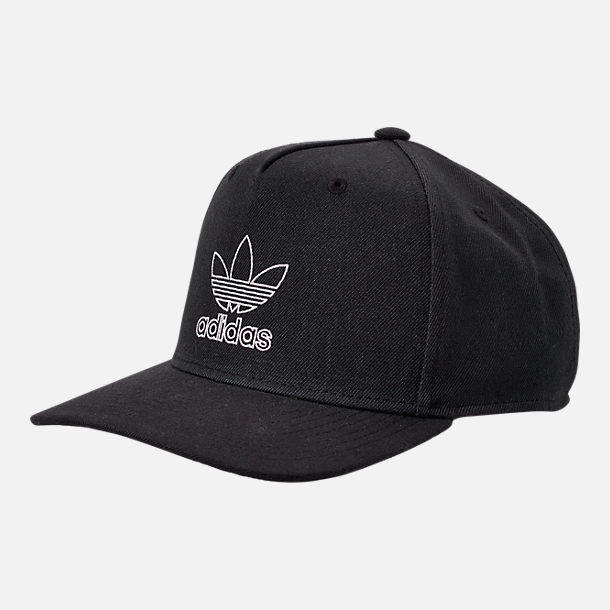 Front view of Men's adidas Originals Dart Precurved Snapback Hat in Black/White