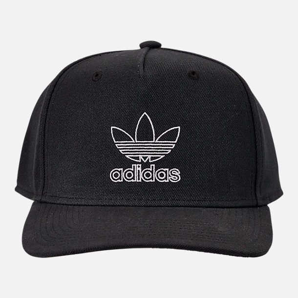 Back view of Men's adidas Originals Dart Precurved Snapback Hat in Black/White