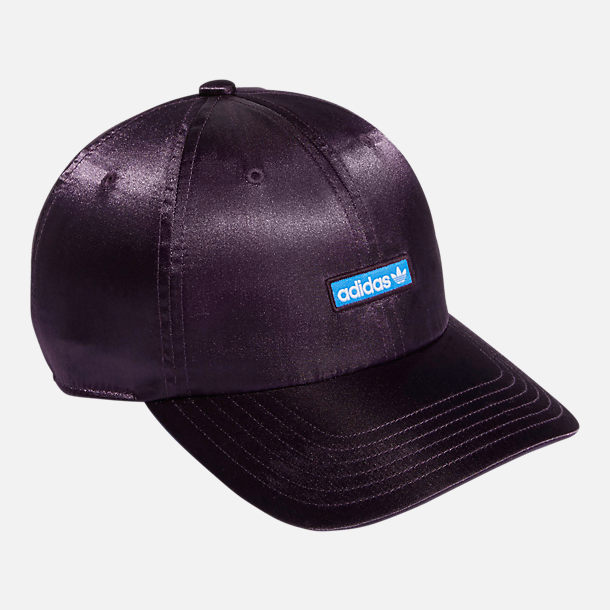 Front view of Women's adidas Originals Precurved Relaxed Fit Metallic Strapback Hat in Active Purple/True Blue