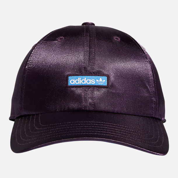 Back view of Women's adidas Originals Precurved Relaxed Fit Metallic Strapback Hat in Active Purple/True Blue