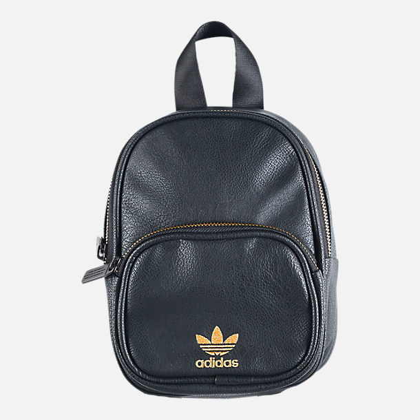 Front view of Women's adidas Originals Faux Leather Mini Backpack in Black/Gold