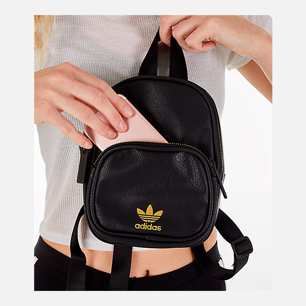 Alternate view of Women s adidas Originals Faux Leather Mini Backpack in  Black Gold 02d5dc1a9332b