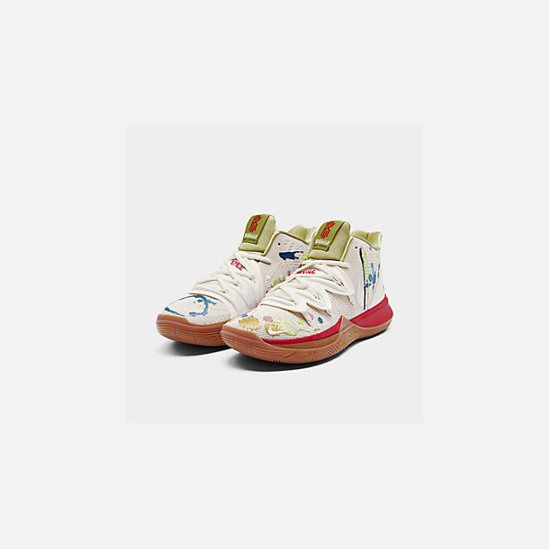 Three Quarter view of Men's Nike Kyrie 5 x Bandulu Basketball Shoes in Pale Ivory/Dark Orchid