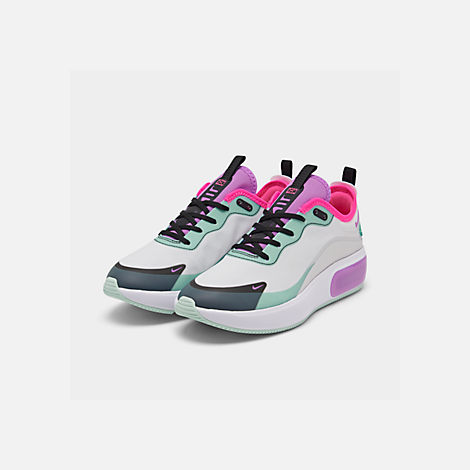 Three Quarter view of Women's Nike Air Max DIA Casual Shoes in Platinum Tint/Bright Violet/Black