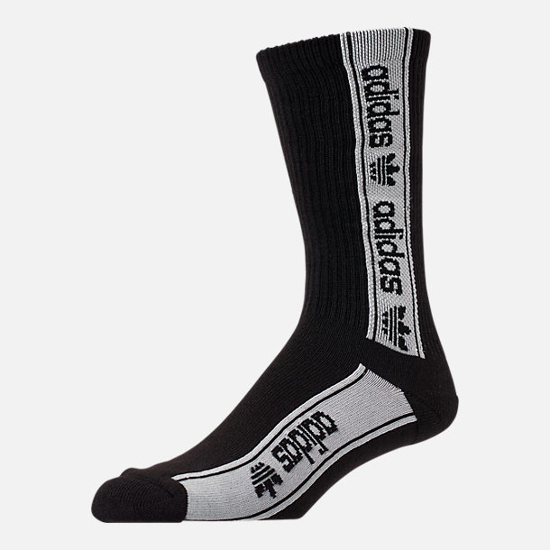 Front view of Men's adidas Originals Repeat Crew Socks in Black/White