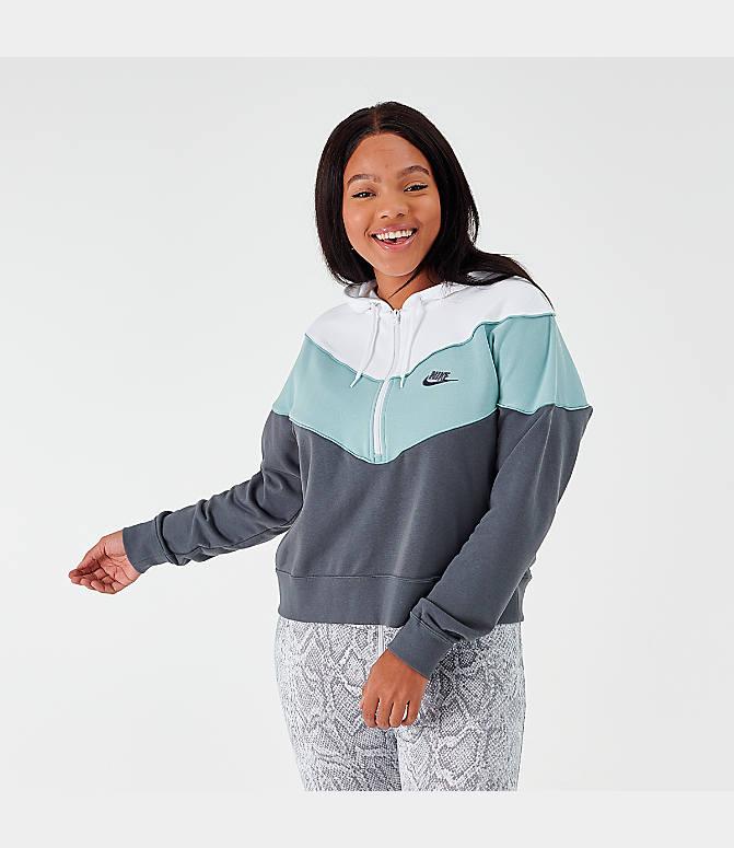 Front view of Women's Nike Sportswear Heritage Fleece Hoodie