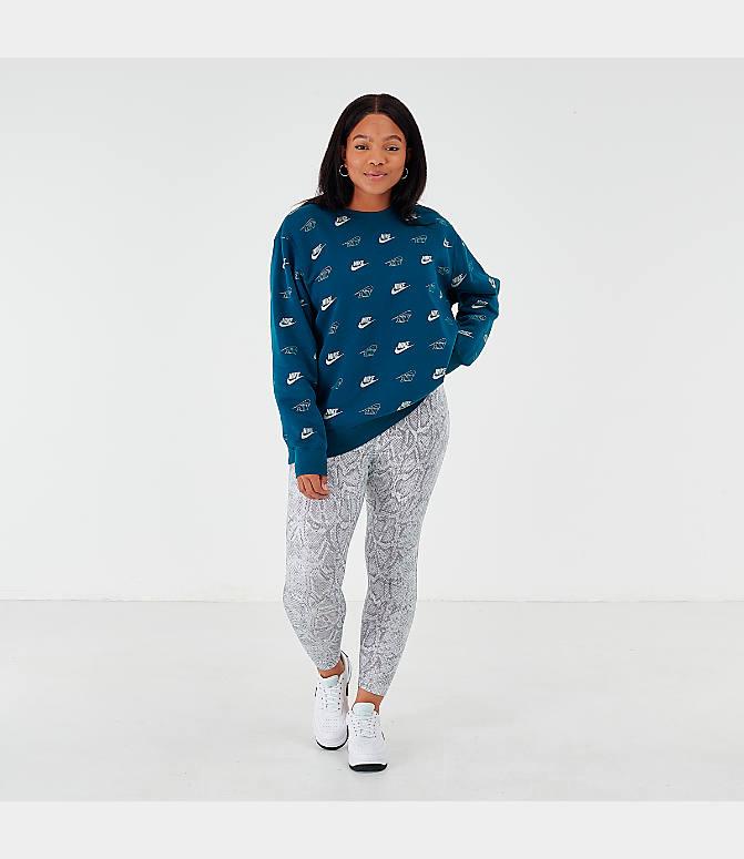Women's Nike Sportswear Shine All Over Print Crew Sweatshirt (Plus Size)