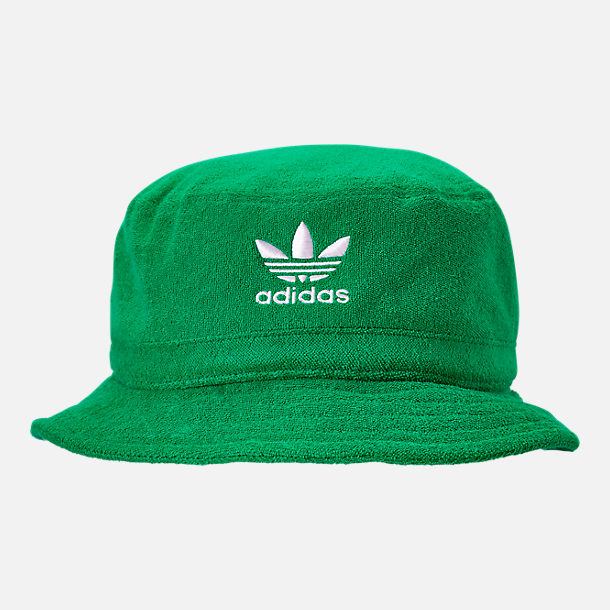 Front view of adidas Originals Terry Bucket Hat in Green/White