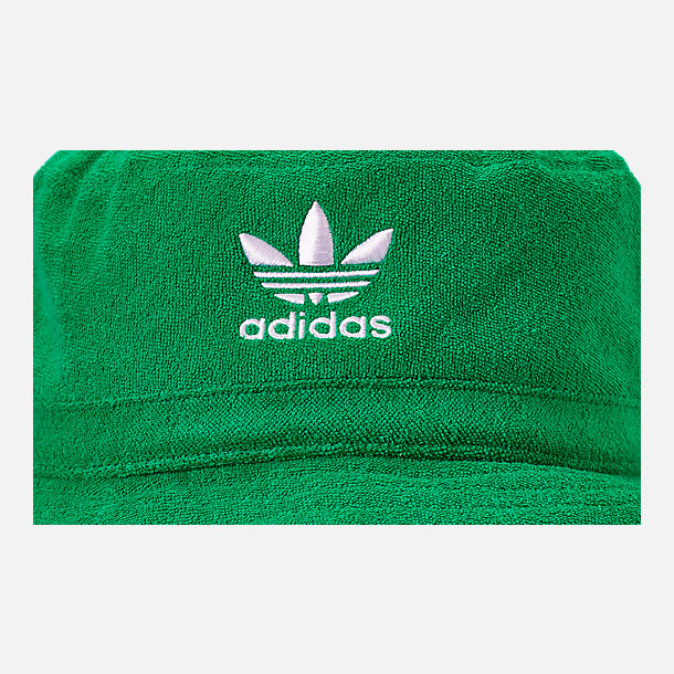 Back view of adidas Originals Terry Bucket Hat in Green/White