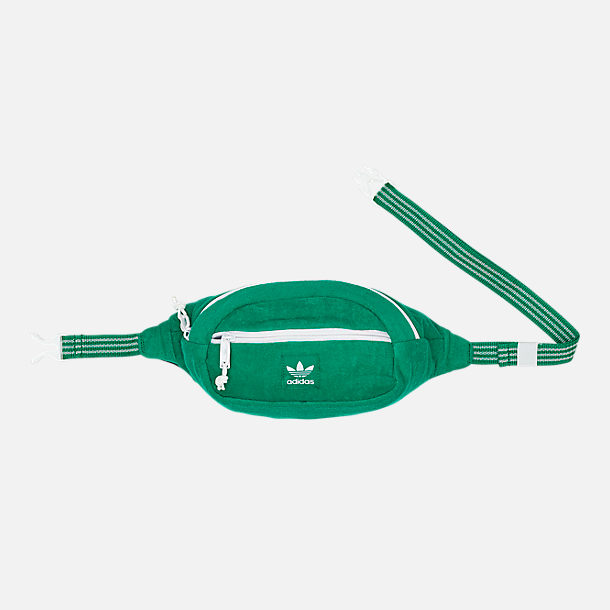 Front view of adidas Originals Terry Waist Pack in Fairway Green/White