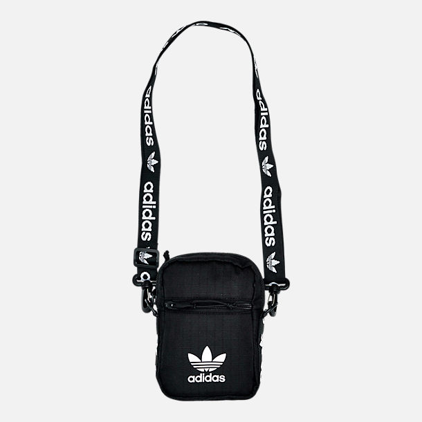 Front view of adidas Originals Shoulder Bag in Black/White