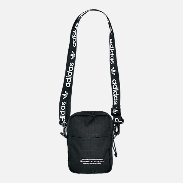 Back view of adidas Originals Shoulder Bag in Black/White