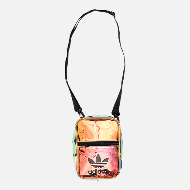 574453ebf Front view of adidas Originals Iridescent Festival Crossbody Bag in Radiant  Metallic