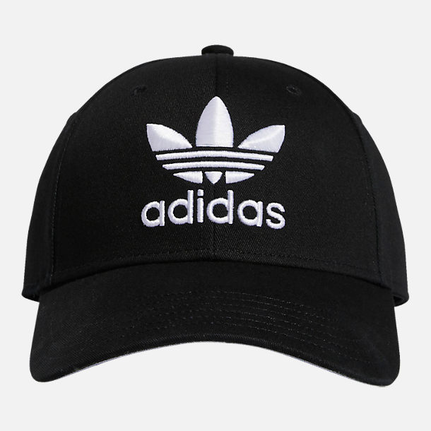 Front view of adidas Originals Precurved Icon Snapback Hat in Black/White