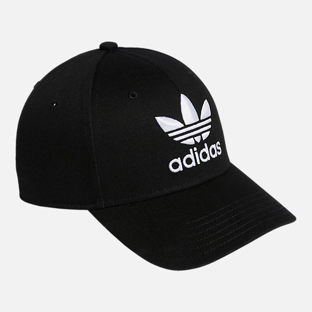 Back view of adidas Originals Precurved Icon Snapback Hat in Black/White