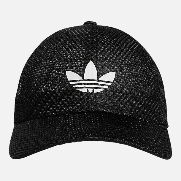 Front view of Women's adidas Originals Mesh Adjustable Hat in Black/White