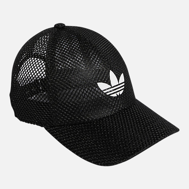 Back view of Women's adidas Originals Mesh Adjustable Hat in Black/White