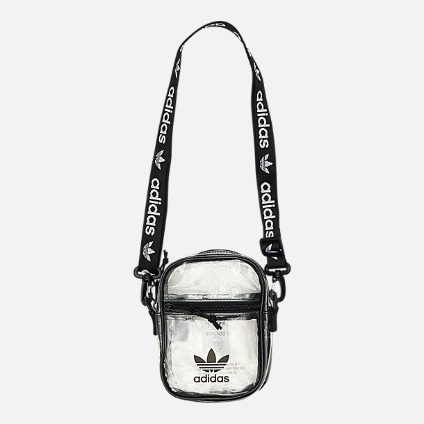 Front view of adidas Originals Clear Festival Crossbody Bag in Clear/Black