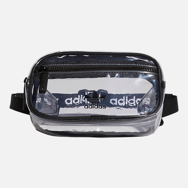 Front view of adidas Originals Clear Waist Pack in Black/Clear