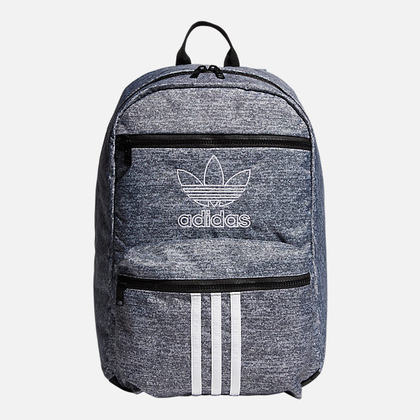 Front view of adidas Originals National 3-Stripes Backpack in Grey
