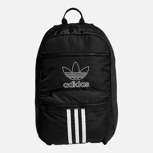 Front view of adidas Originals National 3-Stripes Backpack in Black/White