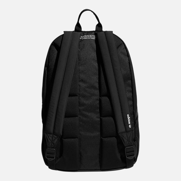 Back view of adidas Originals National 3-Stripes Backpack in Black/White