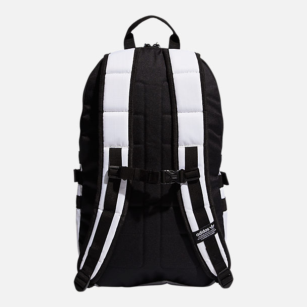 Back view of adidas Originals Bungee Backpack in White/Volt Green