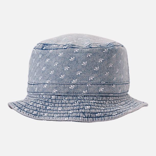 acfa366e Front view of adidas Originals Denim Allover Print Bucket Hat in Denim