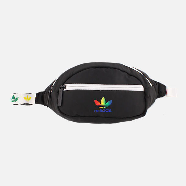 Front view of adidas Originals Pride National Waist Pack in Black/Rainbow