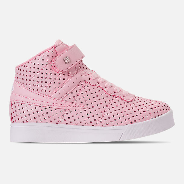 Right view of Girls' Little Kids' Fila Vulc 13 MP Stars Hook-and-Loop Casual Shoes in Pale Pink